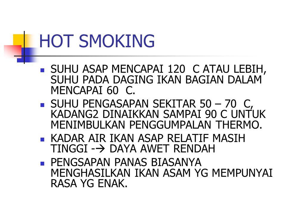 HOT SMOKING SUHU ASAP MENCAPAI 120 C ATAU LEBIH, SUHU PADA DAGING IKAN BAGIAN DALAM MENCAPAI 60 C. SUHU PENGASAPAN SEKITAR 50 – 70 C, KADANG2 DINAIKKA