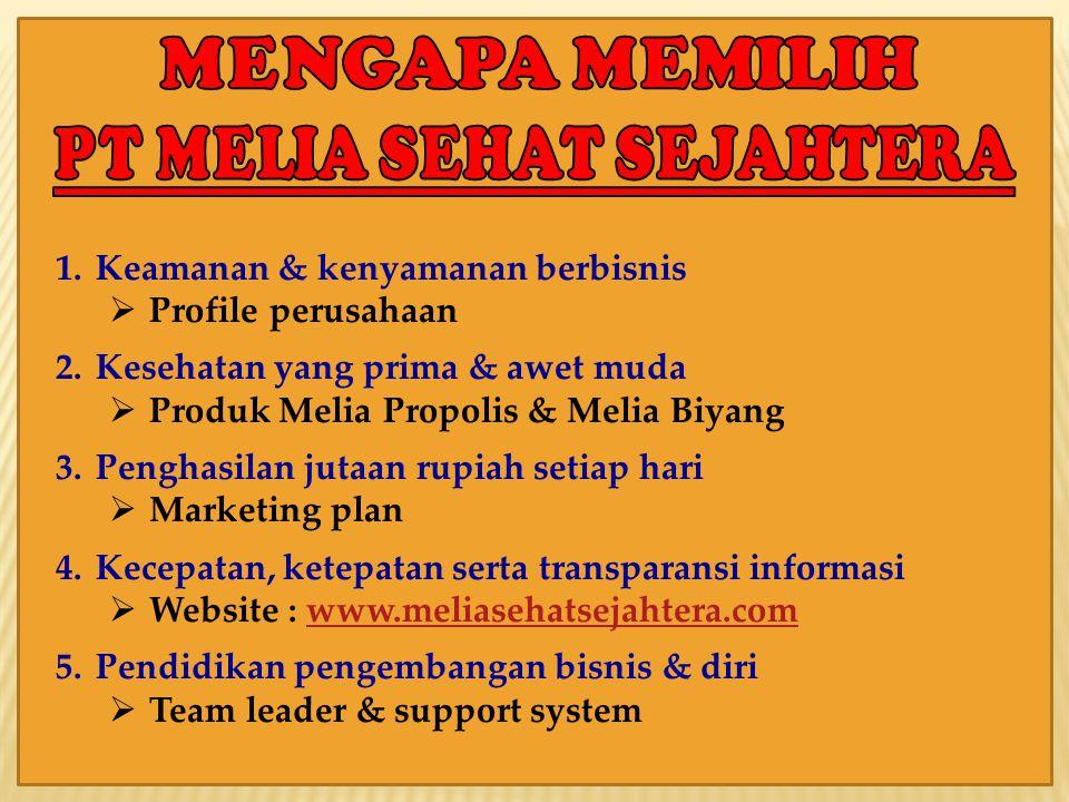 1.Keamanan & kenyamanan berbisnis  Profile perusahaan 2.Kesehatan yang prima & awet muda  Produk Melia Propolis & Melia Biyang 3.Penghasilan jutaan