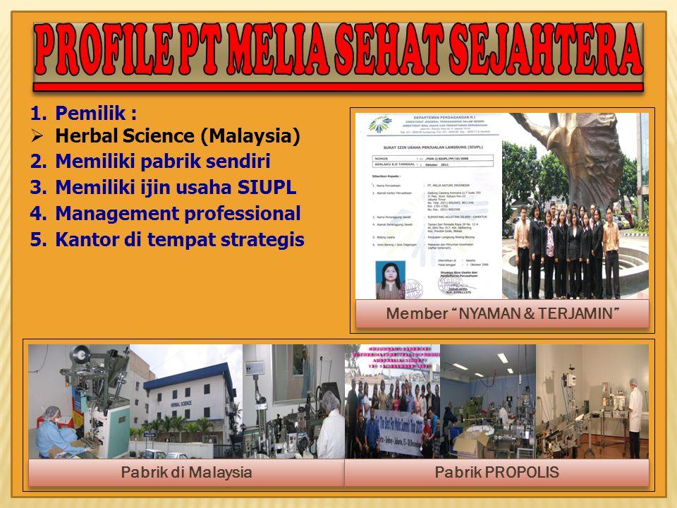 1.Pemilik :  Herbal Science (Malaysia) 2.Memiliki pabrik sendiri 3.Memiliki ijin usaha SIUPL 4.Management professional 5.Kantor di tempat strategis M