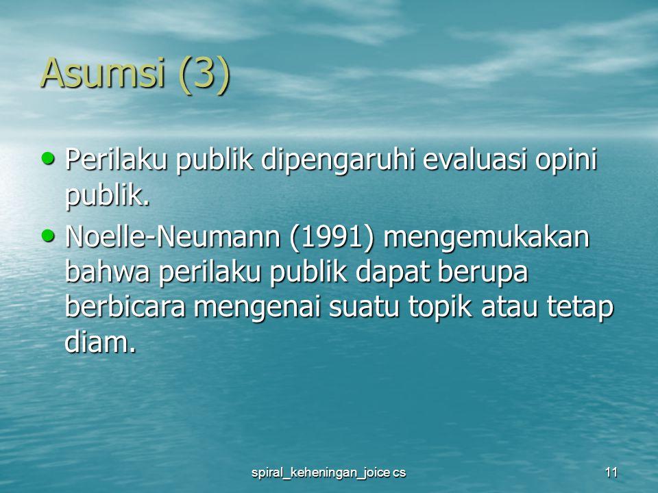 spiral_keheningan_joice cs11 Asumsi (3) Perilaku publik dipengaruhi evaluasi opini publik.
