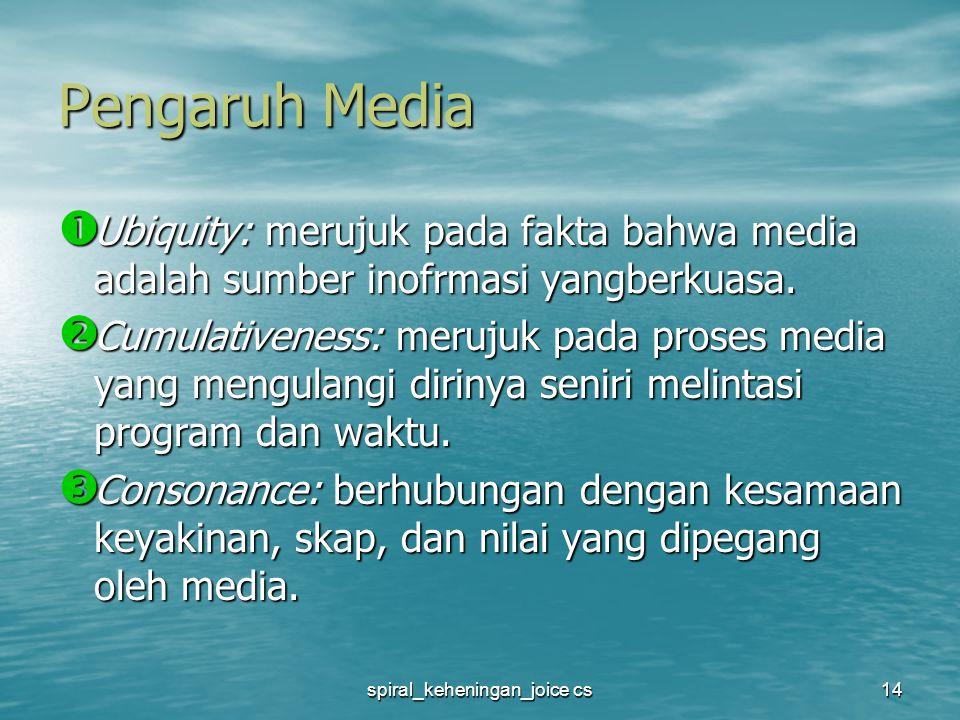 spiral_keheningan_joice cs14 Pengaruh Media  Ubiquity: merujuk pada fakta bahwa media adalah sumber inofrmasi yangberkuasa.