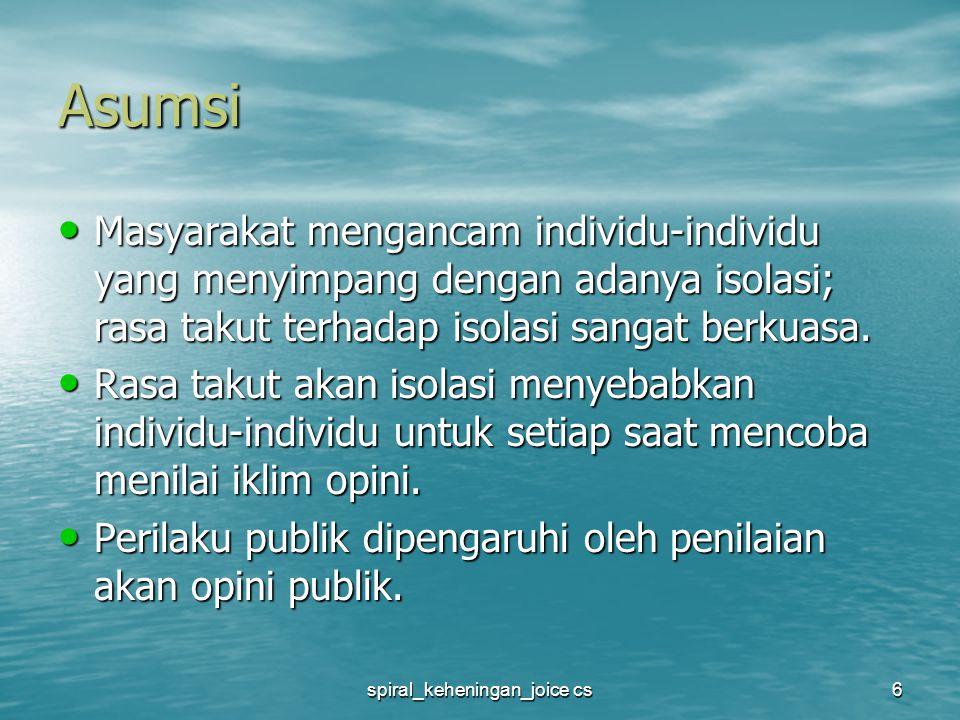 spiral_keheningan_joice cs7 Asumsi (1) Masyarakat memegang kekuasaan terhadap mereka yang tidak sepakat melalui ancaman akan isolasi.