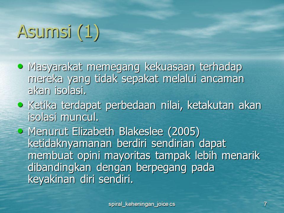spiral_keheningan_joice cs8 Asumsi (2) Orang secara terus menerus menilai iklim dari opini publik.