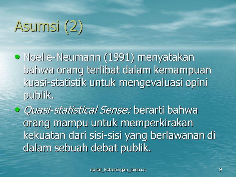 spiral_keheningan_joice cs9 Asumsi (2) Noelle-Neumann (1991) menyatakan bahwa orang terlibat dalam kemampuan kuasi-statistik untuk mengevaluasi opini publik.