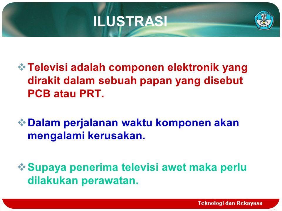 Teknologi dan Rekayasa ILUSTRASI  Televisi adalah componen elektronik yang dirakit dalam sebuah papan yang disebut PCB atau PRT.