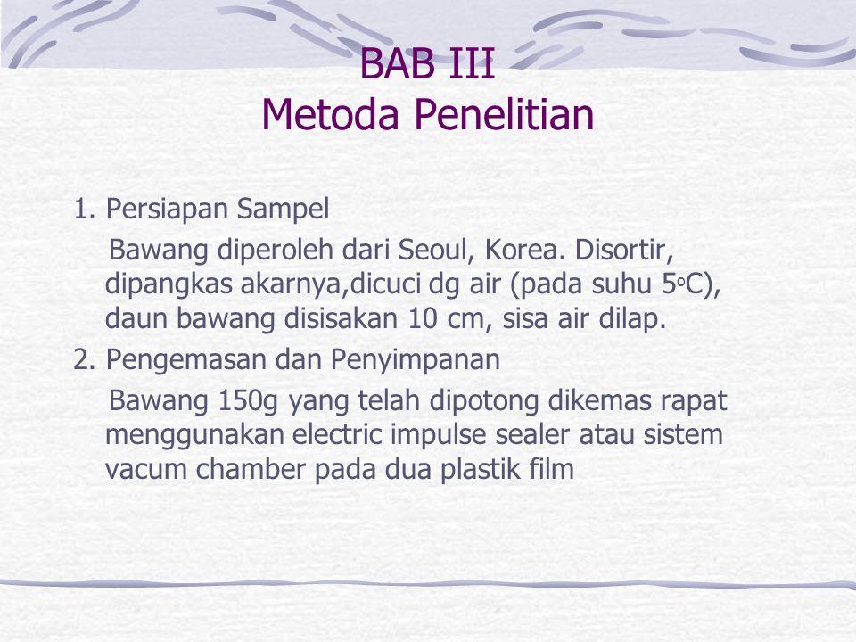 BAB III Metoda Penelitian 1. Persiapan Sampel Bawang diperoleh dari Seoul, Korea.
