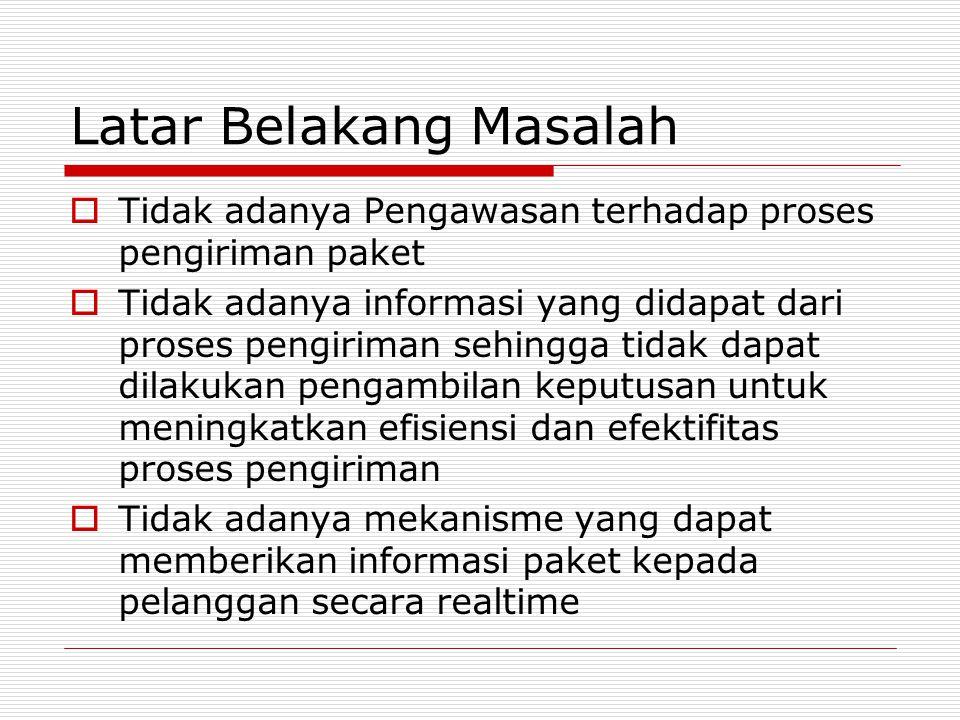 Latar Belakang Masalah  Tidak adanya Pengawasan terhadap proses pengiriman paket  Tidak adanya informasi yang didapat dari proses pengiriman sehingg
