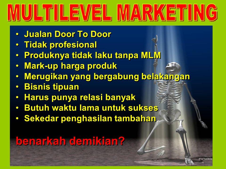 Jualan Door To Door Tidak profesional Produknya tidak laku tanpa MLM Mark-up harga produk Merugikan yang bergabung belakangan Bisnis tipuan Harus puny