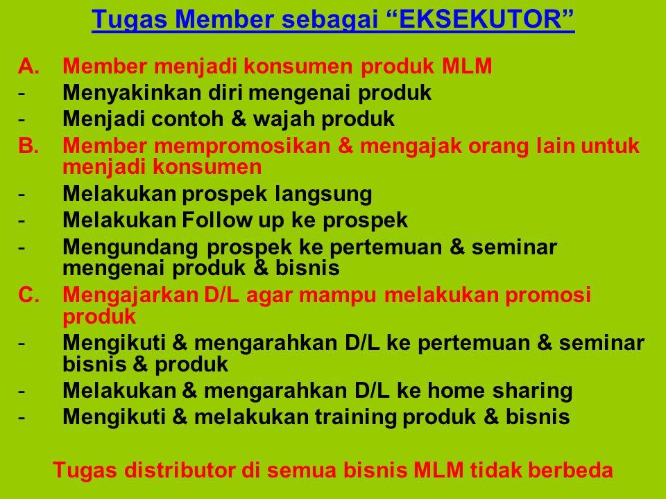 """Tugas Member sebagai """"EKSEKUTOR"""" A.Member menjadi konsumen produk MLM -Menyakinkan diri mengenai produk -Menjadi contoh & wajah produk B.Member mempro"""