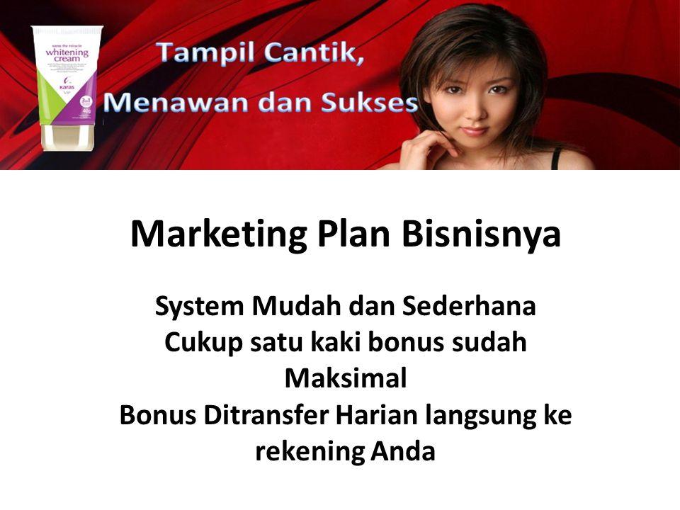 Marketing Plan Bisnisnya System Mudah dan Sederhana Cukup satu kaki bonus sudah Maksimal Bonus Ditransfer Harian langsung ke rekening Anda