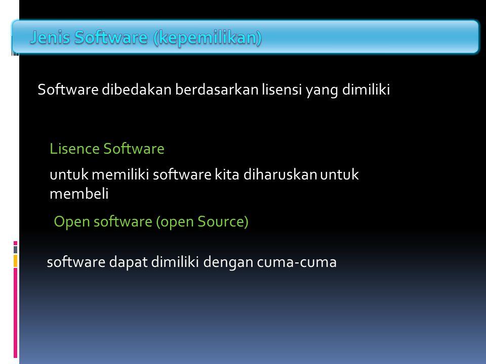 Software dibedakan berdasarkan lisensi yang dimiliki Lisence Software Open software (open Source) untuk memiliki software kita diharuskan untuk membel