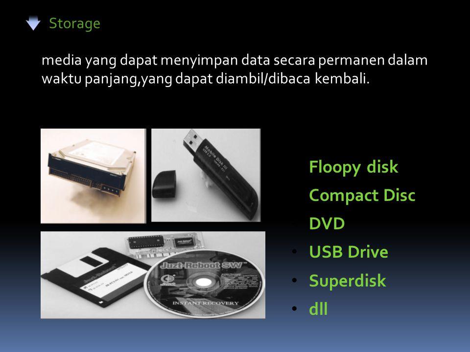 Storage Floopy disk Compact Disc DVD USB Drive Superdisk dll media yang dapat menyimpan data secara permanen dalam waktu panjang,yang dapat diambil/di