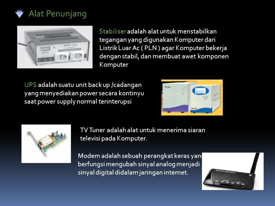 Alat Penunjang Stabiliser adalah alat untuk menstabilkan tegangan yang digunakan Komputer dari Listrik Luar Ac ( PLN ) agar Komputer bekerja dengan st