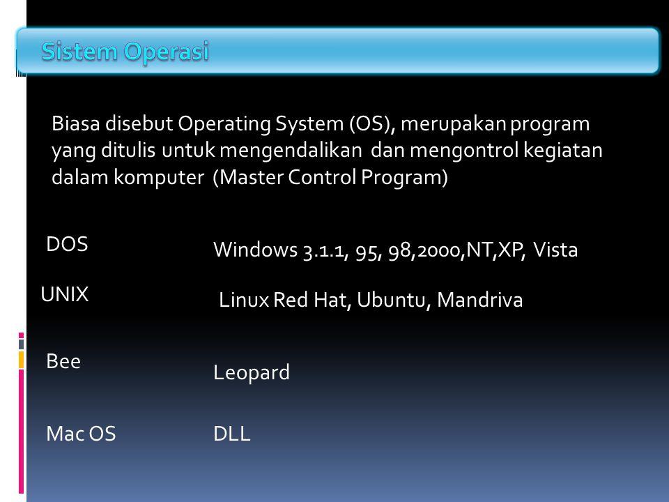 Biasa disebut Operating System (OS), merupakan program yang ditulis untuk mengendalikan dan mengontrol kegiatan dalam komputer (Master Control Program