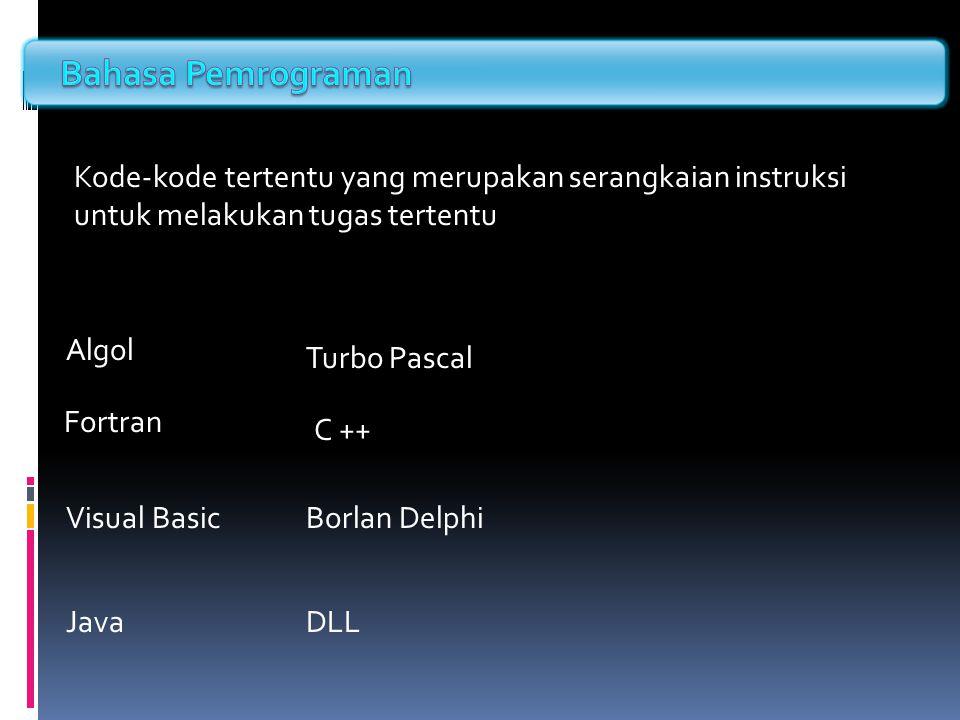 Kode-kode tertentu yang merupakan serangkaian instruksi untuk melakukan tugas tertentu Algol Fortran Turbo Pascal C ++ Visual BasicBorlan Delphi JavaD