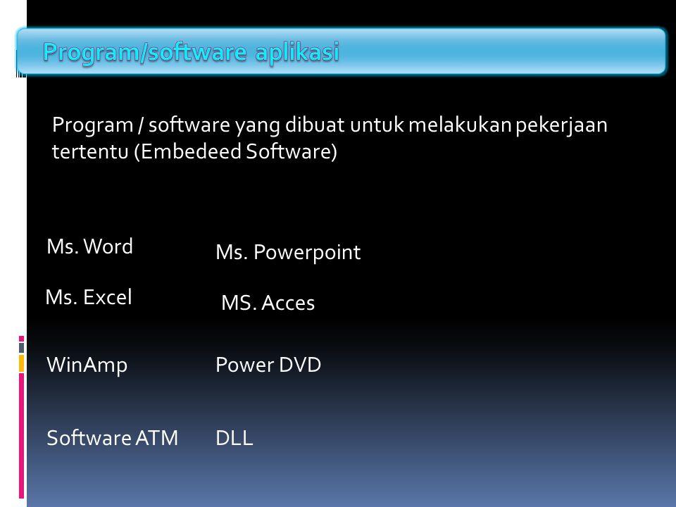 Program / software yang dibuat untuk melakukan pekerjaan tertentu (Embedeed Software) Ms. Word Ms. Excel Ms. Powerpoint MS. Acces WinAmpPower DVD Soft