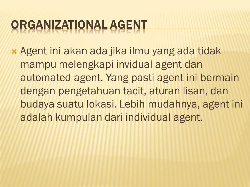  Agent ini akan ada jika ilmu yang ada tidak mampu melengkapi invidual agent dan automated agent.