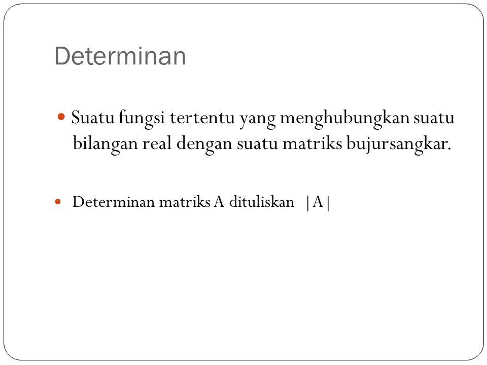 Determinan 1. Cara Sarrus Metode Sarrus hanya untuk matriks berdimensi 2x2 dan 3x3