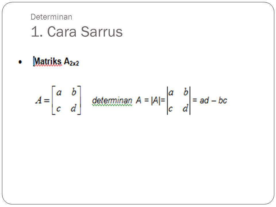 Determinan 1. Cara Sarrus Contoh :
