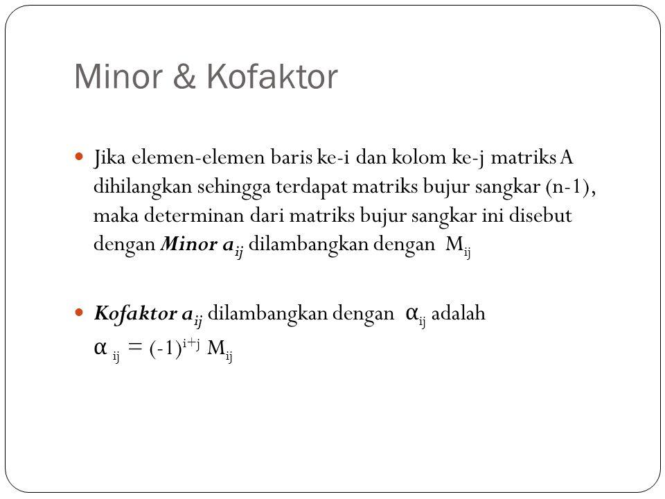 Minor & Kofaktor Jika elemen-elemen baris ke-i dan kolom ke-j matriks A dihilangkan sehingga terdapat matriks bujur sangkar (n-1), maka determinan dar