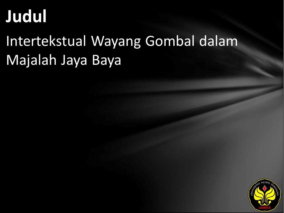 Judul Intertekstual Wayang Gombal dalam Majalah Jaya Baya