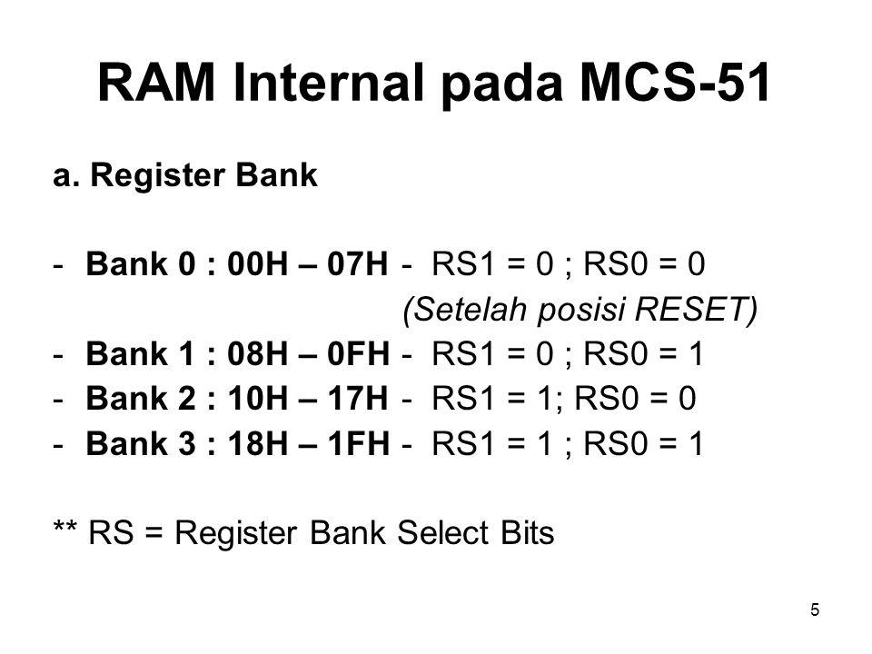5 a. Register Bank -Bank 0 : 00H – 07H- RS1 = 0 ; RS0 = 0 (Setelah posisi RESET) -Bank 1 : 08H – 0FH- RS1 = 0 ; RS0 = 1 -Bank 2 : 10H – 17H- RS1 = 1;