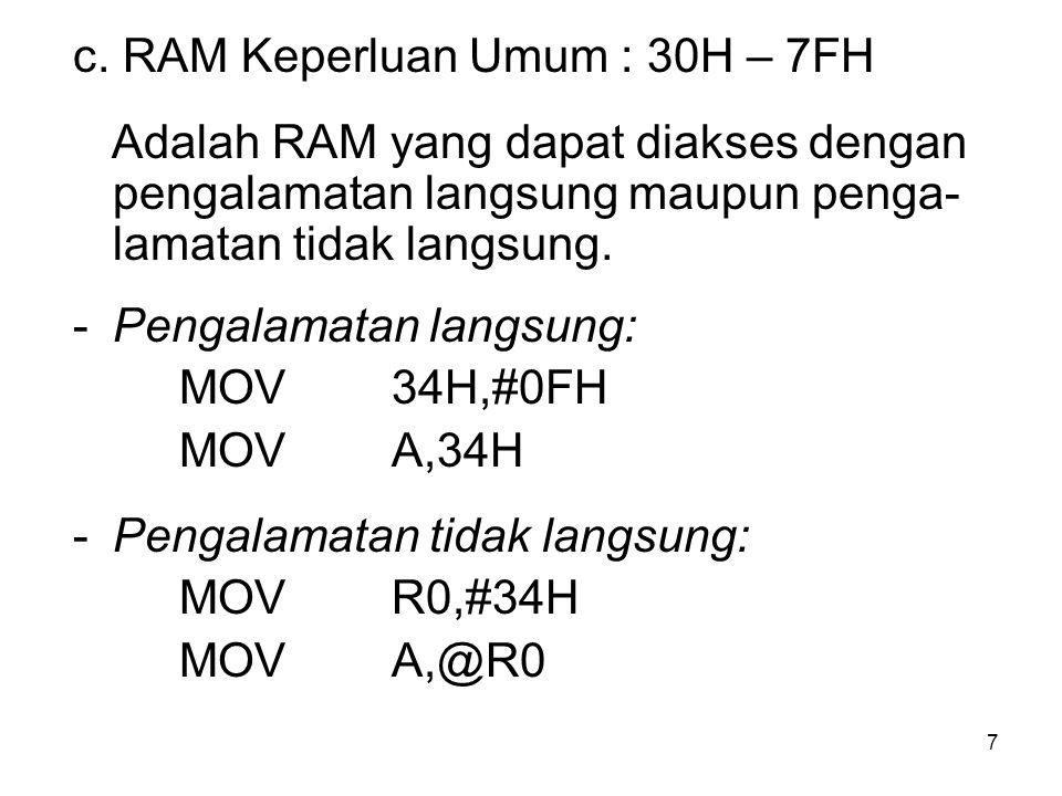 7 c. RAM Keperluan Umum : 30H – 7FH Adalah RAM yang dapat diakses dengan pengalamatan langsung maupun penga- lamatan tidak langsung. -Pengalamatan lan
