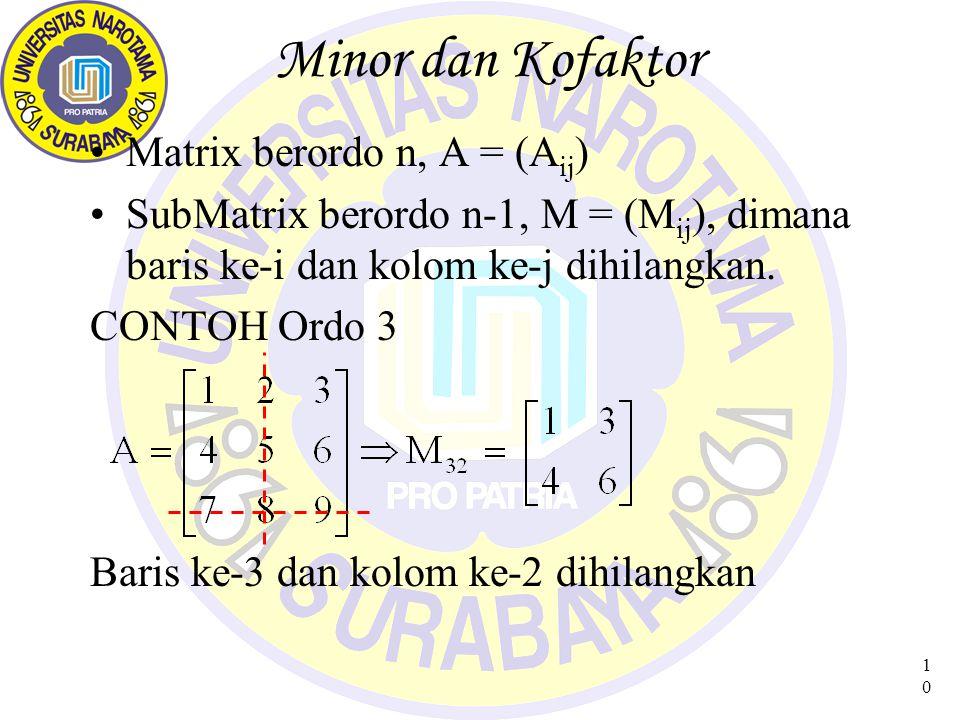 10 Minor dan Kofaktor Matrix berordo n, A = (A ij ) SubMatrix berordo n-1, M = (M ij ), dimana baris ke-i dan kolom ke-j dihilangkan.