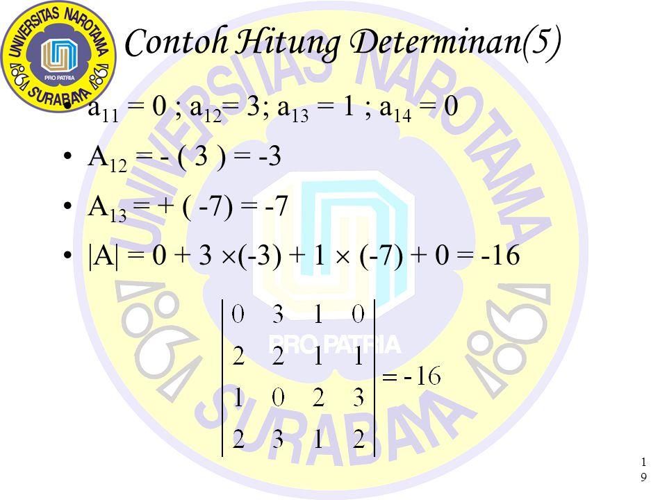 19 Contoh Hitung Determinan(5) a 11 = 0 ; a 12 = 3; a 13 = 1 ; a 14 = 0 A 12 = - ( 3 ) = -3 A 13 = + ( -7) = -7 |A| = 0 + 3  (-3) + 1  (-7) + 0 = -16