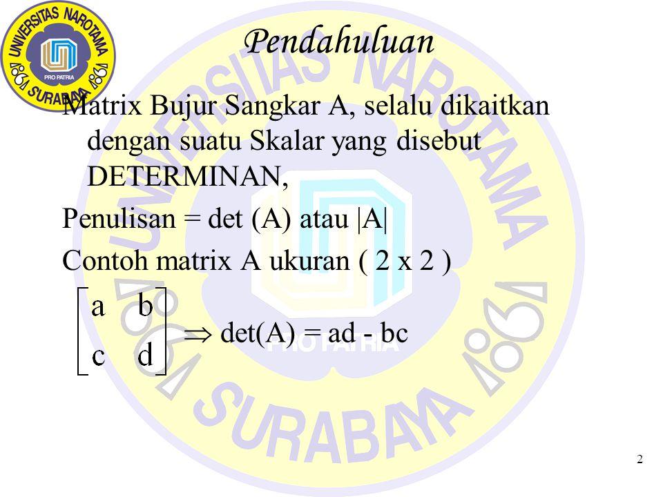 2 Pendahuluan Matrix Bujur Sangkar A, selalu dikaitkan dengan suatu Skalar yang disebut DETERMINAN, Penulisan = det (A) atau |A| Contoh matrix A ukuran ( 2 x 2 )  det(A) = ad - bc