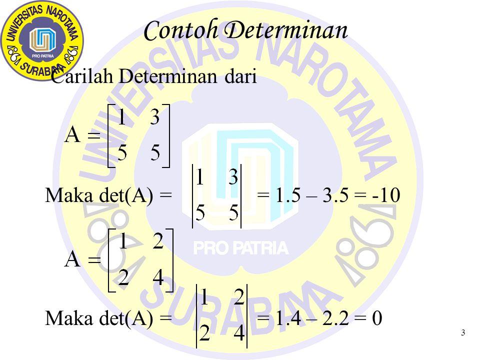 3 Contoh Determinan Carilah Determinan dari Maka det(A) = = 1.5 – 3.5 = -10 Maka det(A) = = 1.4 – 2.2 = 0
