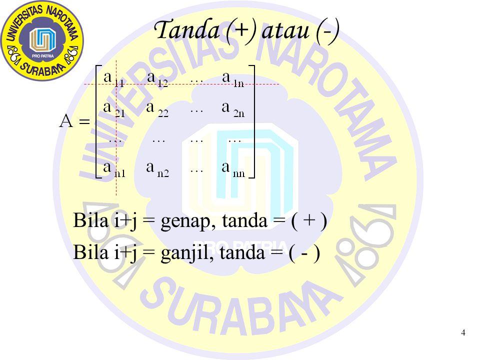 4 Tanda (+) atau (-) Bila i+j = genap, tanda = ( + ) Bila i+j = ganjil, tanda = ( - )