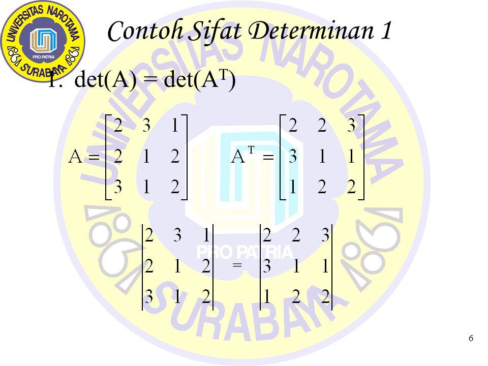 6 Contoh Sifat Determinan 1 1.det(A) = det(A T ) =