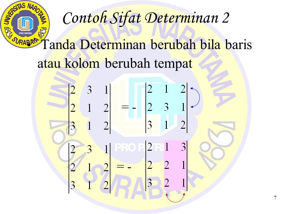 7 Contoh Sifat Determinan 2 Tanda Determinan berubah bila baris atau kolom berubah tempat = -