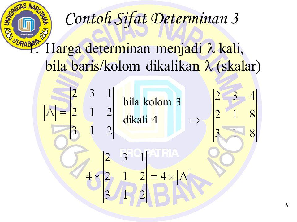 8 Contoh Sifat Determinan 3 1.Harga determinan menjadi kali, bila baris/kolom dikalikan (skalar) bila kolom 3 dikali 4 