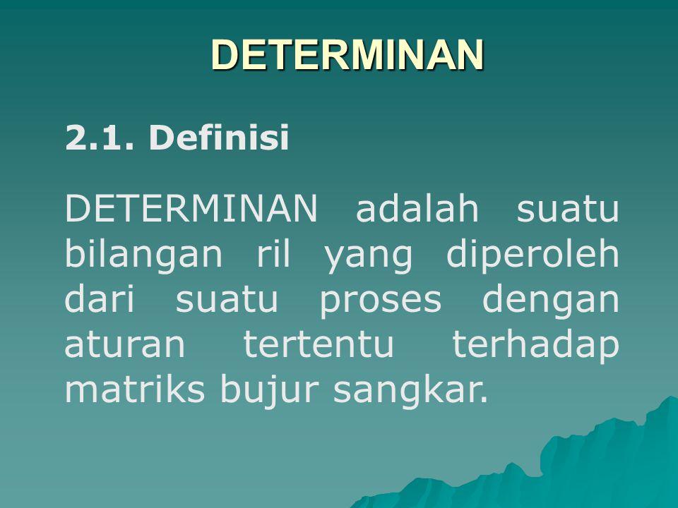 2.1. Definisi DETERMINAN adalah suatu bilangan ril yang diperoleh dari suatu proses dengan aturan tertentu terhadap matriks bujur sangkar. DETERMINAN