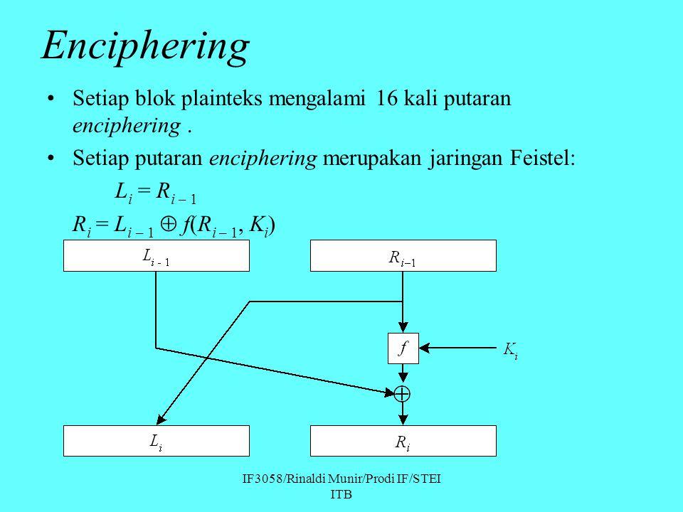 IF3058/Rinaldi Munir/Prodi IF/STEI ITB Enciphering Setiap blok plainteks mengalami 16 kali putaran enciphering. Setiap putaran enciphering merupakan j