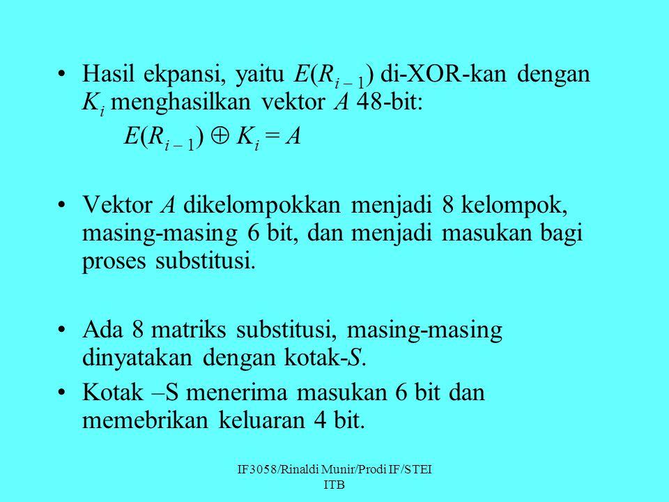 IF3058/Rinaldi Munir/Prodi IF/STEI ITB Hasil ekpansi, yaitu E(R i – 1 ) di-XOR-kan dengan K i menghasilkan vektor A 48-bit: E(R i – 1 )  K i = A Vekt