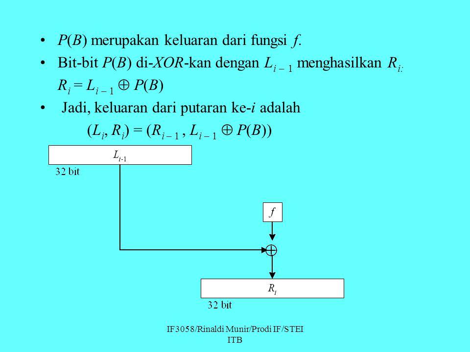 IF3058/Rinaldi Munir/Prodi IF/STEI ITB P(B) merupakan keluaran dari fungsi f. Bit-bit P(B) di-XOR-kan dengan L i – 1 menghasilkan R i: R i = L i – 1 