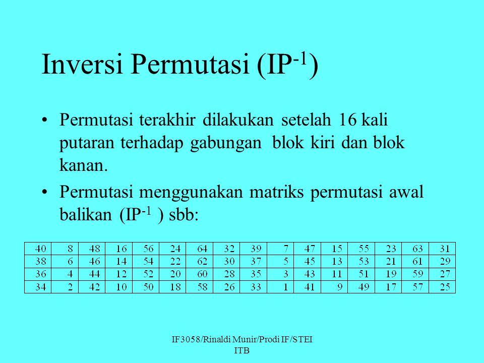 IF3058/Rinaldi Munir/Prodi IF/STEI ITB Inversi Permutasi (IP -1 ) Permutasi terakhir dilakukan setelah 16 kali putaran terhadap gabungan blok kiri dan