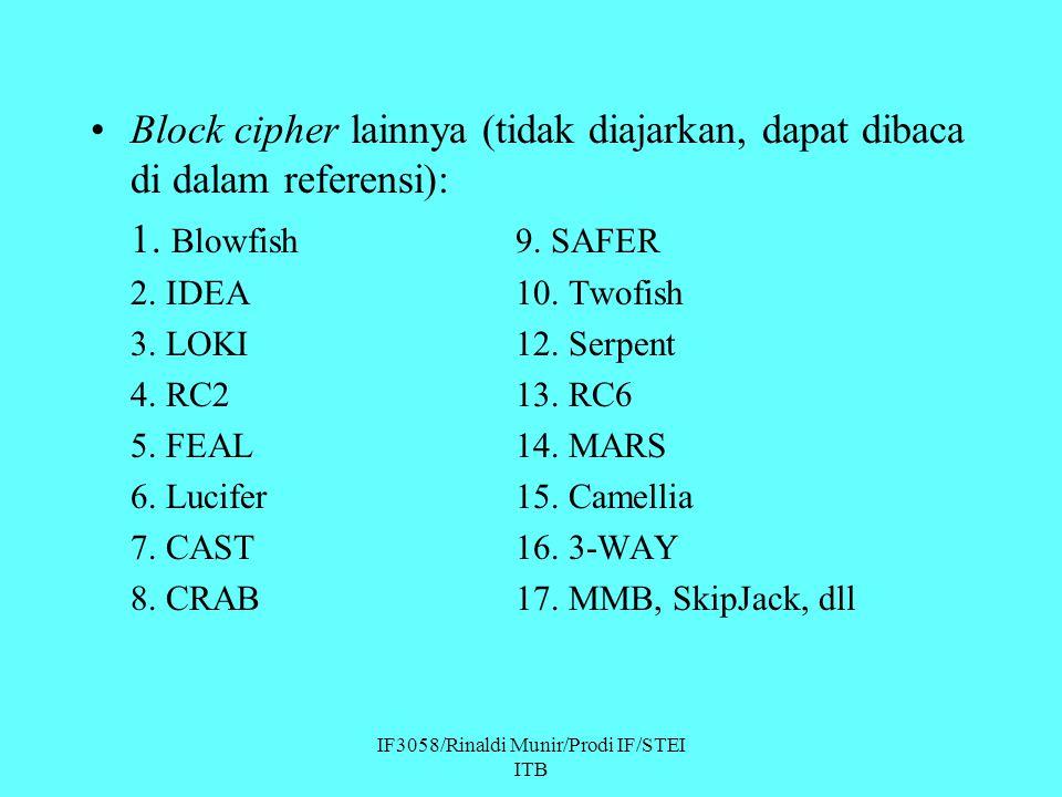 IF3058/Rinaldi Munir/Prodi IF/STEI ITB Block cipher lainnya (tidak diajarkan, dapat dibaca di dalam referensi): 1. Blowfish9. SAFER 2. IDEA10. Twofish