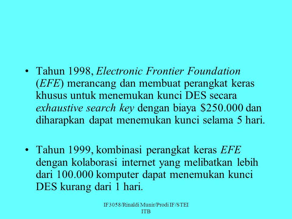 IF3058/Rinaldi Munir/Prodi IF/STEI ITB Tahun 1998, Electronic Frontier Foundation (EFE) merancang dan membuat perangkat keras khusus untuk menemukan k