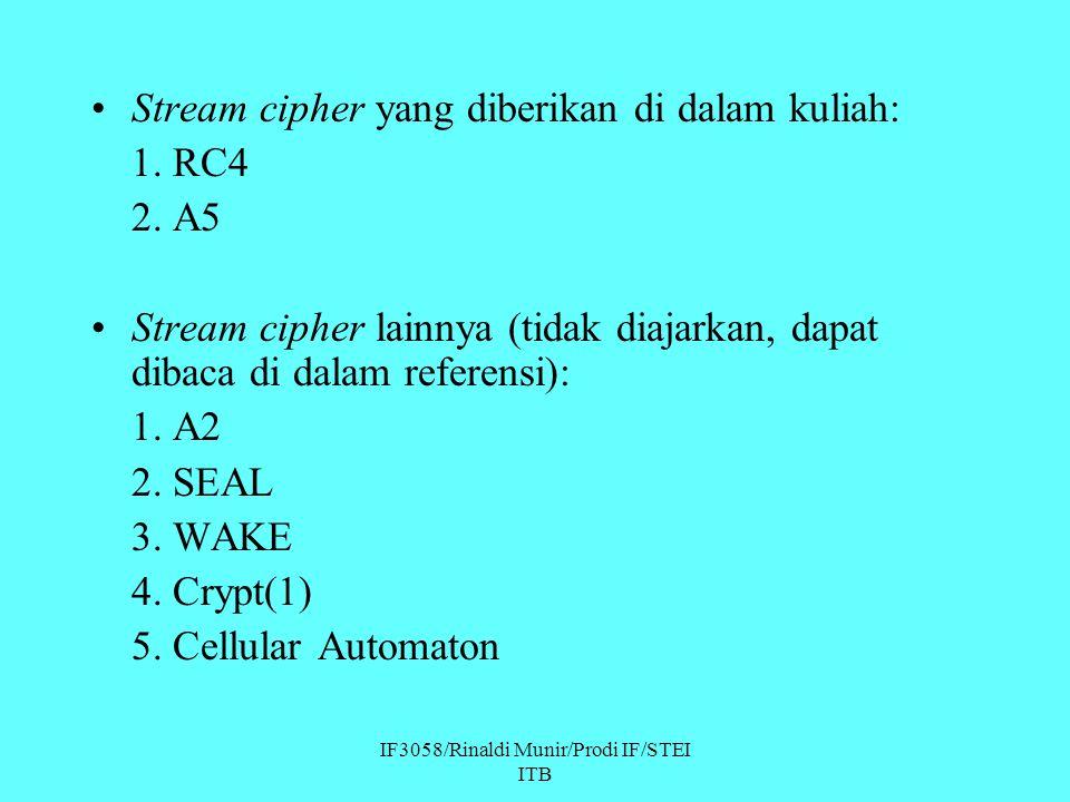 IF3058/Rinaldi Munir/Prodi IF/STEI ITB Stream cipher yang diberikan di dalam kuliah: 1. RC4 2. A5 Stream cipher lainnya (tidak diajarkan, dapat dibaca