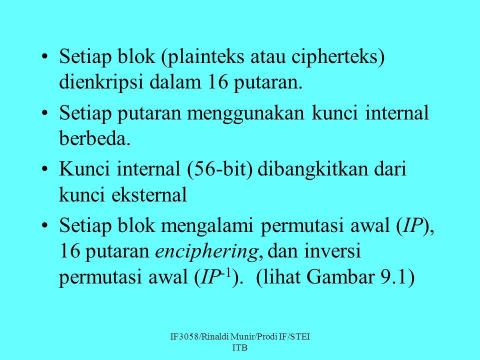 IF3058/Rinaldi Munir/Prodi IF/STEI ITB Setiap blok (plainteks atau cipherteks) dienkripsi dalam 16 putaran. Setiap putaran menggunakan kunci internal