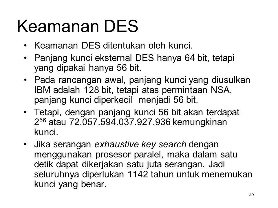 Keamanan DES Keamanan DES ditentukan oleh kunci.