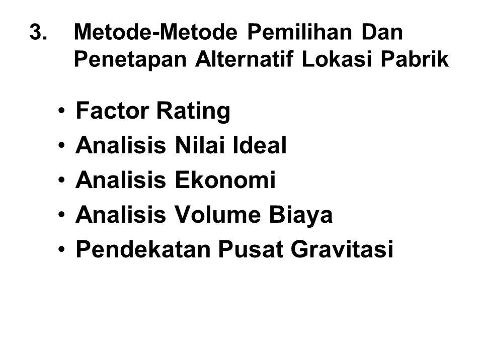 3.Metode-Metode Pemilihan Dan Penetapan Alternatif Lokasi Pabrik Factor Rating Analisis Nilai Ideal Analisis Ekonomi Analisis Volume Biaya Pendekatan
