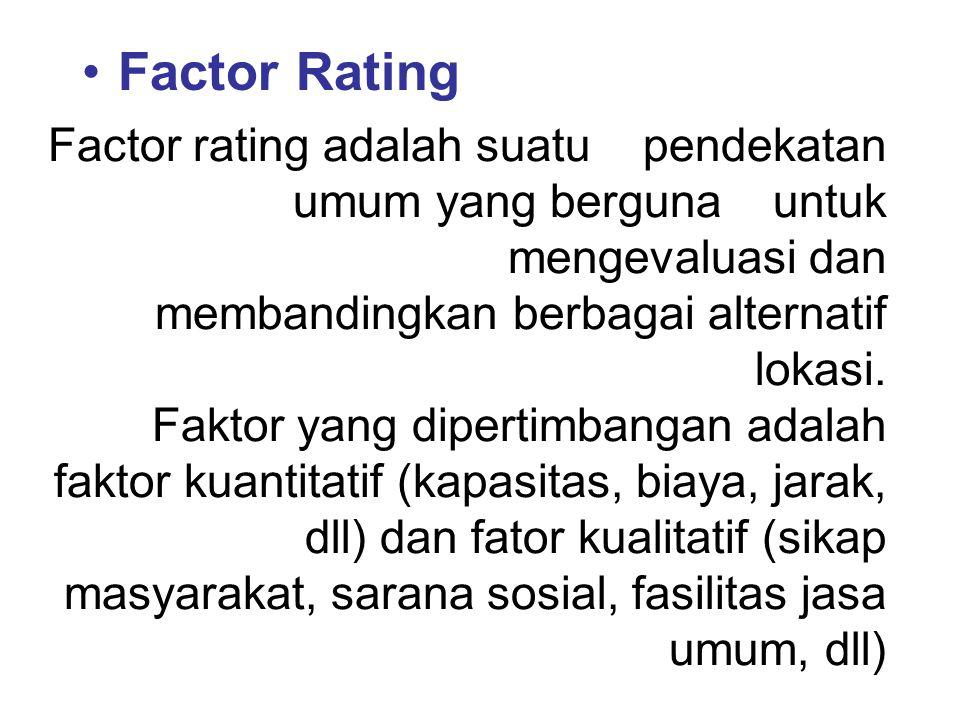Factor Rating Factor rating adalah suatu pendekatan umum yang berguna untuk mengevaluasi dan membandingkan berbagai alternatif lokasi. Faktor yang dip