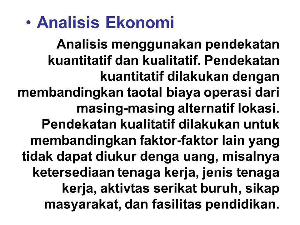 Analisis Ekonomi Analisis menggunakan pendekatan kuantitatif dan kualitatif. Pendekatan kuantitatif dilakukan dengan membandingkan taotal biaya operas