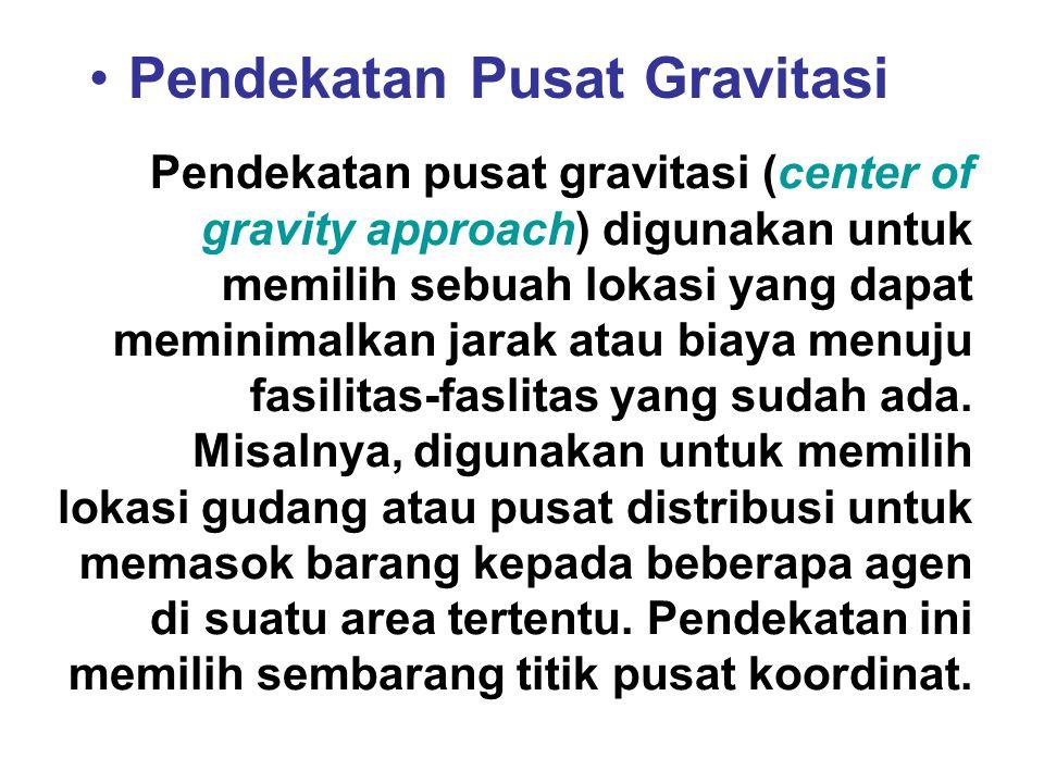 Pendekatan Pusat Gravitasi Pendekatan pusat gravitasi (center of gravity approach) digunakan untuk memilih sebuah lokasi yang dapat meminimalkan jarak