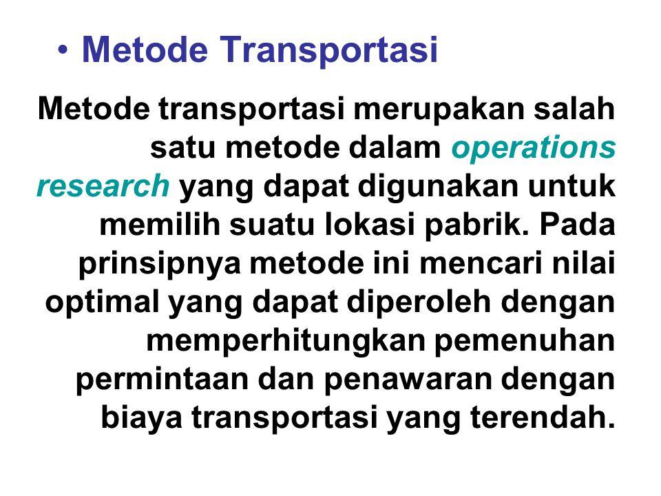 Metode Transportasi Metode transportasi merupakan salah satu metode dalam operations research yang dapat digunakan untuk memilih suatu lokasi pabrik.